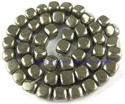 100% Natura 8mm Square Angle Lap Pyrite Loose Beads 15''