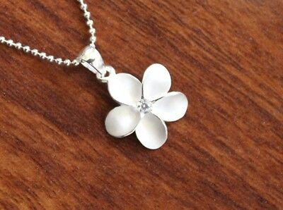 Hawaiian 925 Sterling Silver 15MM PLUMERIA CLEAR CZ Pendant Necklace #SP43701