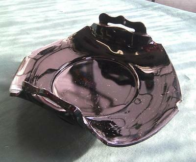 Vintage Black Purple Amethyst Napkin Candle Holder Center Piece Glass