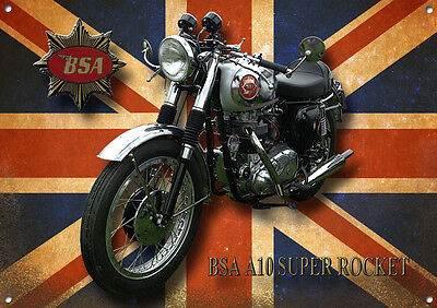 Bsa A10 Super Rocket Motorcycle Metal Sign.