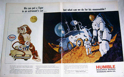 1966 HUMBLE OIL TIGER - ENCO GAS - ARTIST PROJECTION OF MOON VEHICLE PRINT AD!