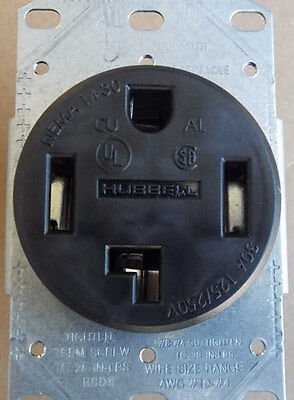 NEW Hubbell RR430F 30A 125/250V 3P 4W Flush Power Receptacle in Black - Lot of 2