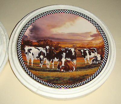 BONNIE MOHR Farmstead Reflections Cows Farmland MOTHERS IN WAITING Plate -Boxed