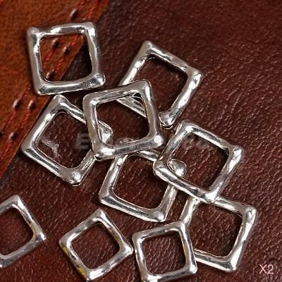 40x Silver Plated Square Spacer Beads Frames DIY Jewelry Beading Findings 12mm