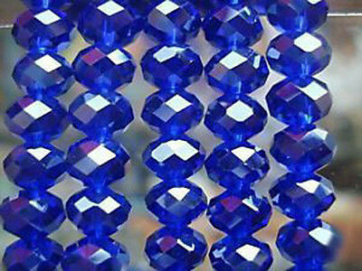 94-100 PCS , 4 X 6 mm Faceted Dark Blue Crystal Gemstone Abacus Loose Beads