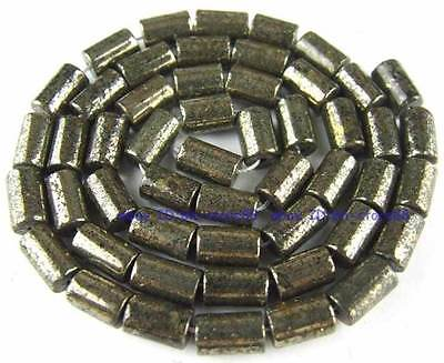100% Natural 5x8mm Tube Pyrite Loose Beads 15''
