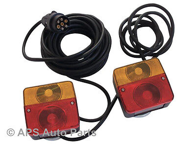 Pre Wired Magnetic Trailer Van Rear Towing LightBoard Lights Lamps + 7.5M Cable