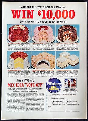 1958 Pillsbury Cake and Frosting Mixes Vote Off Magazine Print Ad
