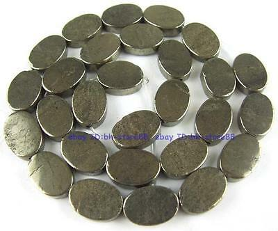 100% Natural 10x14mm Oval Flat Plane Pyrite Beads 15''
