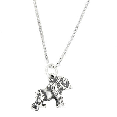 Sterling Silver Walking Gorilla Charm with Box Chain Necklace