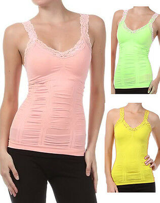 Sexy Camisole Fitted Tank Sleeveless Lace Trim Top Fashion Central