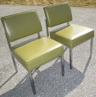 Vintage Retro Mid Century Modern Set Of 2 Domore Furniture Green Vinyl Chairs