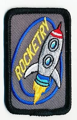 Boy Girl Cub Iron On ROCKETRY Rockets Patches Crests Badges GUIDE SCOUT Derby
