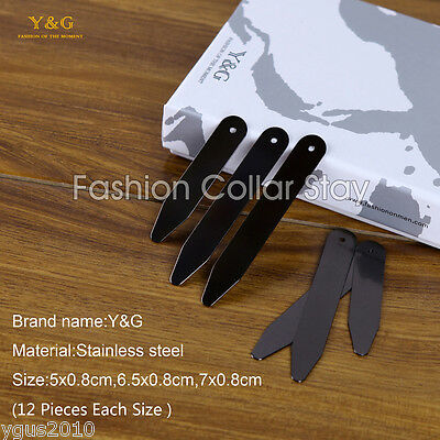 CS1007 Father Presents Idea Black Brushed Steel 36-Piece Collar Stay Y&G