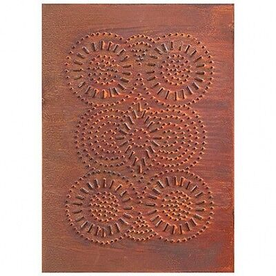 Country new STURBRIDGE rusty tin punched PINWHEEL cabinet panel