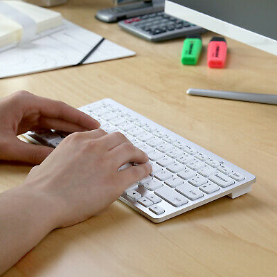 CSL Bluetooth Slim Tastatur Wireless Funk QWERTZ für PC, Tablet & Handy, silber