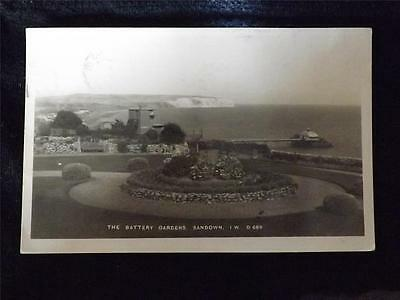 Old Postcard Of The Battery Gardens, Sandown Isle Of Wight