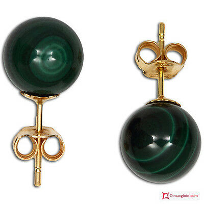 **MG** Orecchini Malachite Extra 8mm in Oro 18K