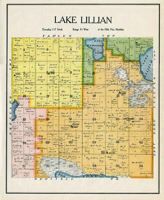 Lake Lillian Township, Kandiyohi County, Minnesota, Rare Color Landowners Map