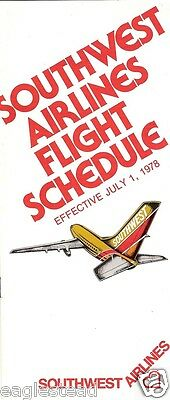 Airline Timetable - Southwest - 01/07/78