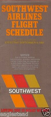 Airline Timetable - Southwest - 09/09/81