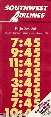 Airline Timetable - Southwest - 22/09/83 - New to San Francisco / Diego