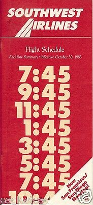 Airline Timetable - Southwest - 30/10/83 - New to San Francisco / Diego