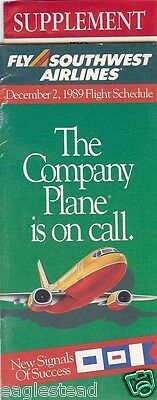 Airline Timetable - Southwest - 02/12/89 - with Supplement