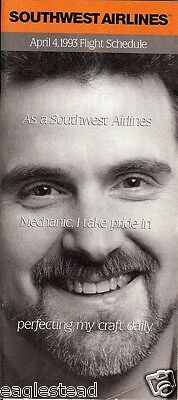 Airline Timetable - Southwest - 04/04/93 - Mechanic