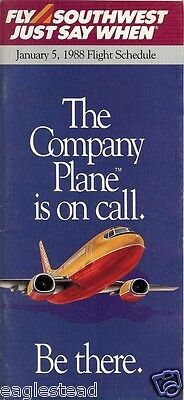 Airline Timetable - Southwest - 05/01/88