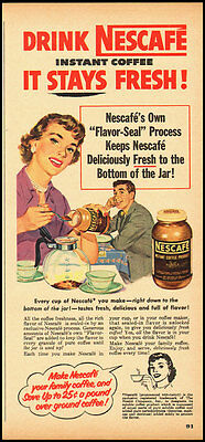 1952 Vintage ad for NESCAFE instant coffee product/Great illustration (111012)