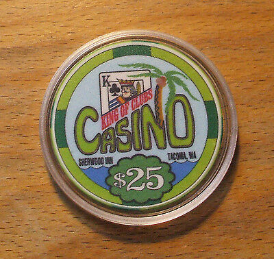 $25 King Of Clubs Casino Chip - Tacoma, Washington - Closed