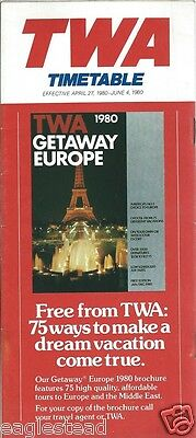 Airline Timetable - TWA - 27/04/80