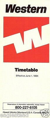 Airline Timetable - Western - 01/06/84