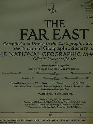 "Vintage 1952 National Geographic Map of The Far East  ""Early Cold War"""