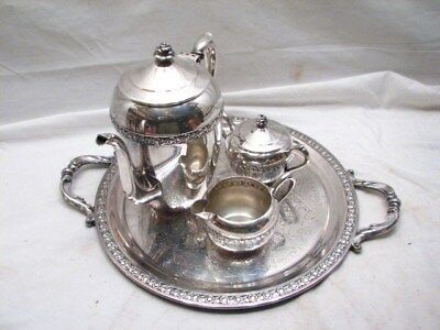 Rogers Silver on Copper Tea/Coffee Set w/Serving Tray Teapot Pot 2307