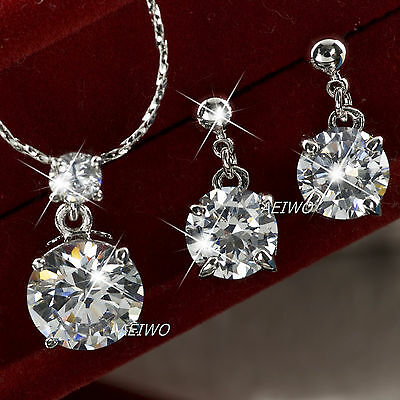 18K White Gold Gf Simulated Diamond Necklace Stud Earrings Classic Wedding Set