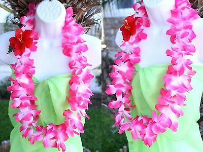 Six hawaiian silk flower lei luau party hula necklace pink white six hawaiian silk flower lei luau party hula necklace pink white qty 6 leis mightylinksfo