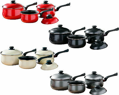 3 Piece Non Stick Carbon Steel Kitchen Cookware Cooking Saucepan With Lid Set