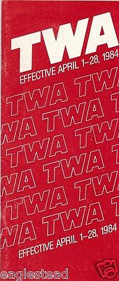 Airline Timetable - TWA - 01/04/84