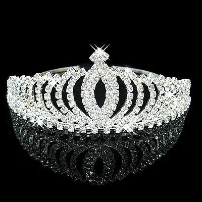 Crystal Rhinestone Wedding Headband Tiara Comb Hair Crown Bridal Pageant Prom