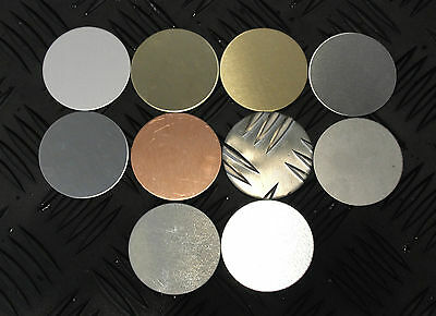 Qty 2 - BLANK DISCS 60mm Diameter - Various finishes Metal Brass Stainless Steel
