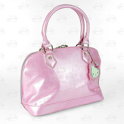 Hello Kitty Patent Leather-Like Hand Carry Shoulder Bag Pink #9046P