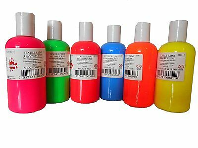 FLUORESCENT SCOLA 150ml PERMANENT FABRIC PAINT ASSORTED NEON BRIGHT COLOURS