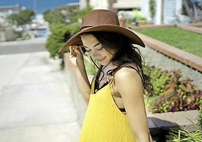 Women Wide Large Brim Floppy Hat Fold Summer Sun Protecting Beach Cap
