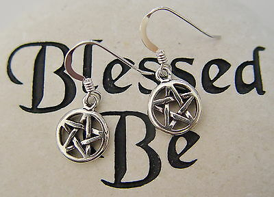 PENTAGRAM EARRINGS 925 SILVER Wicca Witch Pagan Spell Goth New Age Charmed