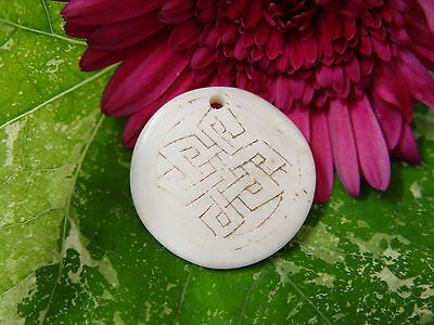 GOOD CHI BONE CHARM I Wicca Witch Pagan Spell Goth OM New Age YOGA BUDDHA AUM