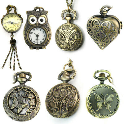 Vintage Steampunk Retro Bronze Design Pocket Watch Quartz Pendant Necklace Gifts