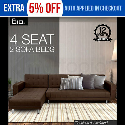 BIO DESIGN Taupe Modular Lounge Suite Chaise - Double Sofa Bed / Futon Couch