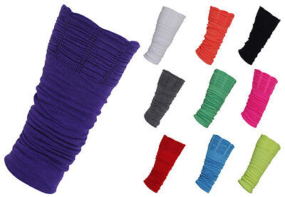 Womens New Plain Ruched Ladies Stretch Footless Retro Dance Socks Leg Warmers
